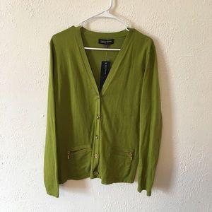 Jones New York green button up cardigan size XL